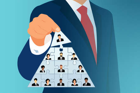 Company leadership and corporate hierarchy concept. Vector of a CEO building a success team