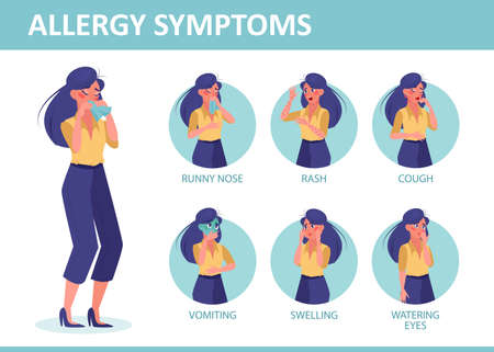 Allergy symptoms infographic. Vector of a woman with allergy symptoms Иллюстрация