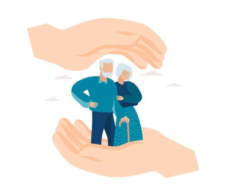 Vector of hands making a protection gesture with elderly man and woman between