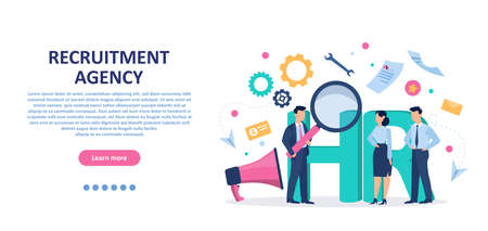 Recruitment concept. Vector of recruitment agency choosing a candidate to hire.