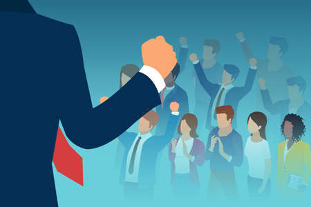 Vector of a leader public speaker giving a speech to a large crowd