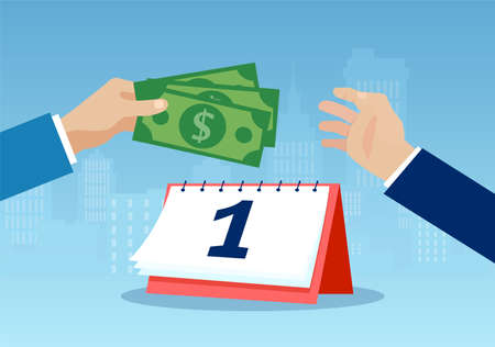 Salary payment concept. Vector of a businessman paying the employee wage giving dollar banknotes. Vetores