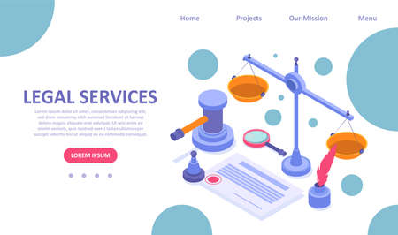 Vector landing page template of legal services