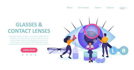 Vector landing page of a eyeglasses and eye care store with people choosing glasses and contact lenses.