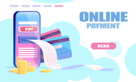 Online payment concept. Vector of a smartphone, credit cards and mobile banking app