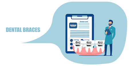 Cosmetic orthodontic procedures concept. Vector of a dentist standing near teeth with dental braces