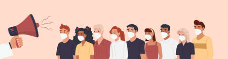 Vector of a group of people wearing face masks listening to a doctor with megaphone making an announcement