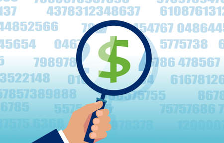 Vector of a businessman looking on dollar symbol through a magnifying glass, reading a financial report