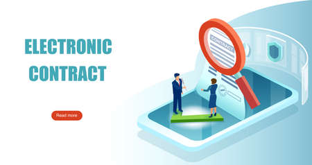 Electronic contract and digital signature concept. Vector of business people signing online e-contract document