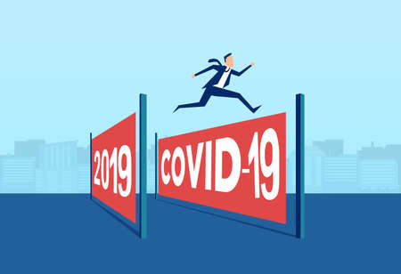 Vector of a business man jumping over coronavirus obstacle year to a new start