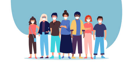 Vector of a group of people men and women in protective medical face masks.