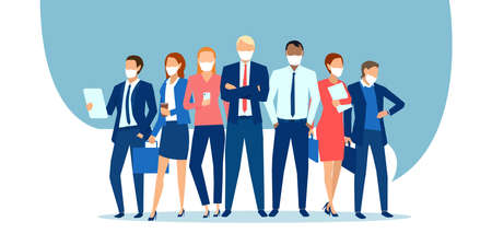 Vector of business people wearing face masks standing together as a team 矢量图像
