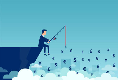 Vector of a businessman sitting on a cliff fishing different currency
