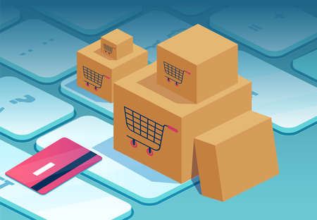 Online shopping concept. Vector of cardboard boxes and credit card on a laptop keyboard. 矢量图像