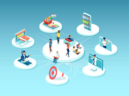 Vector of diverse people surrounded by many online services, education, health care, shopping, customer support