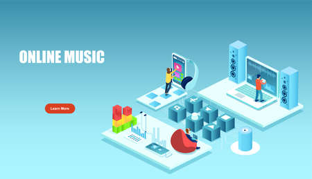 Vector of people listening, creating music using smartphone, laptop, mixer and other devices