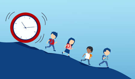 Vector of young children students running away from a falling clock down the hill.