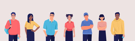 Vector of a group of multicultural students young men and women in casual clothes.