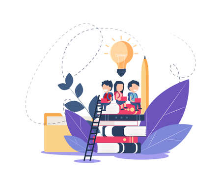 Vector of little kids with laptops sitting on a top of a pile of books
