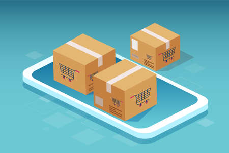 Vector of a smartphone and cardboard boxes with a shopping cart symbol Ilustrace