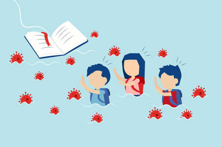 Education system crisis during coronavirus pandemic concept