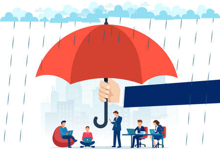 Vector of a big businessman hand holding big umbrella in rain protecting people employees working in office and at home