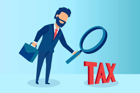 Vector of a businessman auditor inspecting taxes through a magnifying glass
