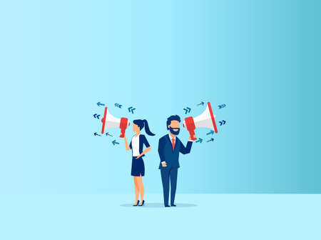 Vector of a businesswoman and a businessman making an announcement in megaphone