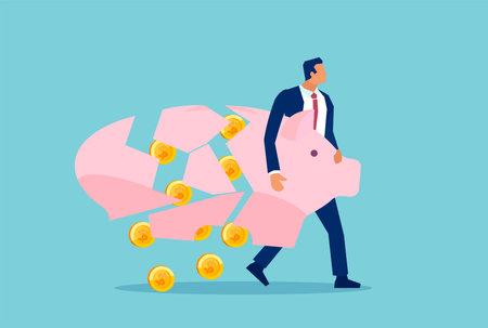 Vector of a businessman holding breaking apart piggy bank loosing his savings 일러스트