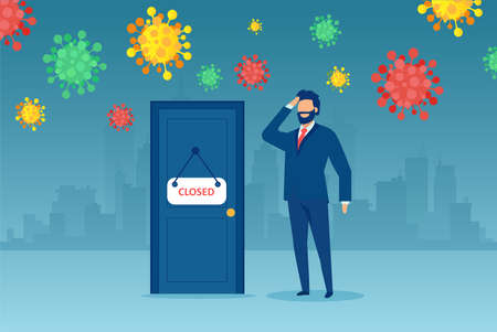 Vector of a confused businessman standing at a door with closed sign during COVID-19 pandemic 矢量图像