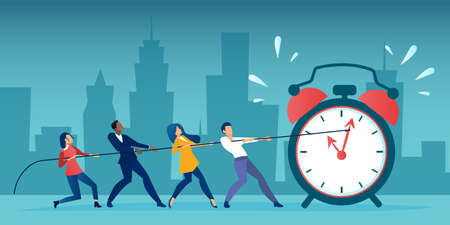 Vector of a group of business people pulling clock hands on a rope. Time management deadline concept