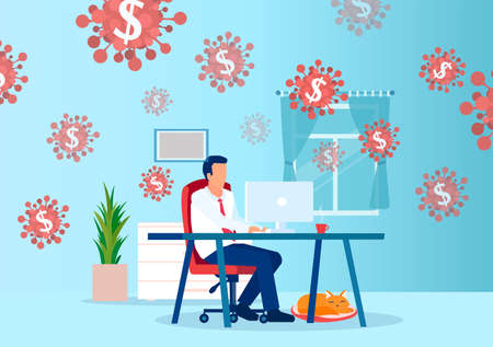 Business opportunity in COVID-19 crisis concept. Vector of a businessman working online from home earning money during coronavirus pandemic 矢量图像