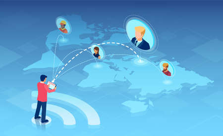 Vector of a businessman with tablet computer connected online with team of freelancers and outsourcing work