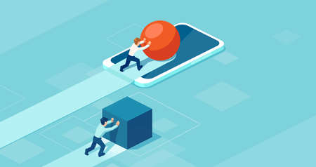 Vector of a successful business man pushing a sphere using mobile technology leading the race against a businessman pushing a box.