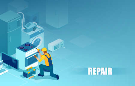 Vector of a handyman repairing home appliances Illustration