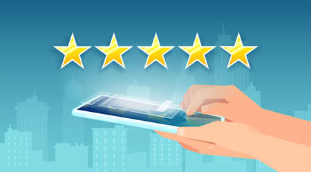 Vector of a customer with smartphone giving a five star rating