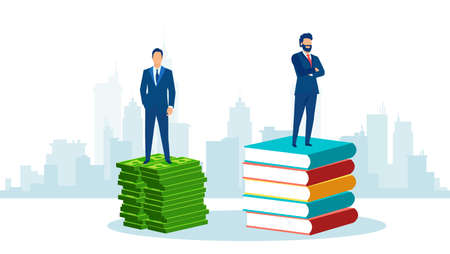 Vector of successful businessmen standing on a pile of books and money bills. Illustration