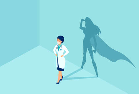 Vector of a confident female nurse or doctor with a super hero shadow on the wall.