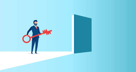 Vector of a businessman holding a key to a door to success