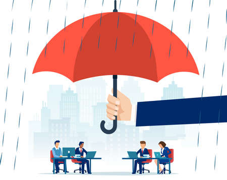 Vector of a hand holding big umbrella in rain protecting people employees working in an office