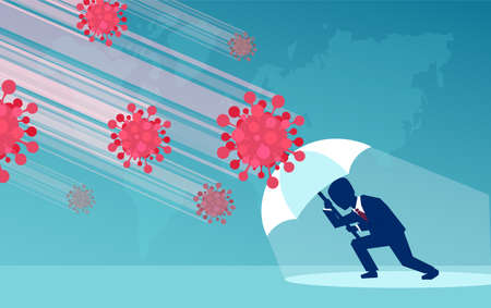 Vector of a businessman leader with umbrella resisting economic crisis impact from COVID-19