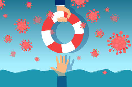 Vector of a businessman being rescued with life buoy during coronavirus economic crisis