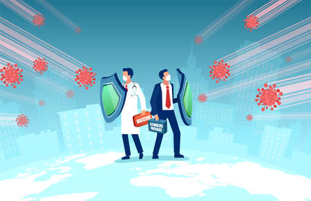 Vector of a doctor wearing face mask holding shield, vaccine box and a businessman with stimulus package fighting Coronavirus pandemic