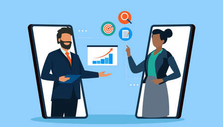 Vector of a businessman and businesswoman chatting online discussing investment opportunities