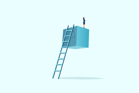 Vector of a businesswoman standing on the top of suspended cube looking into the future Illustration
