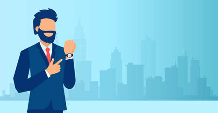 Vector of a bearded business man pointing or showing time on his wrist watch standing on a city background