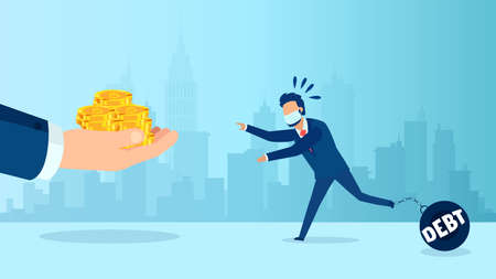 Vector of a businessman with wearing face mask chained to a debt dumbbell running to get relief money from helping hand