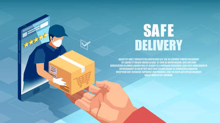 Vector of a delivery man in protective face mask and gloves giving a box to customer shopping online