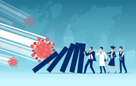 Economic impact and unemployment rise due to Coronavirus pandemic and lockdown concept Illustration