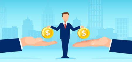 Vector of a small business man owner paying money to big creditors Illustration